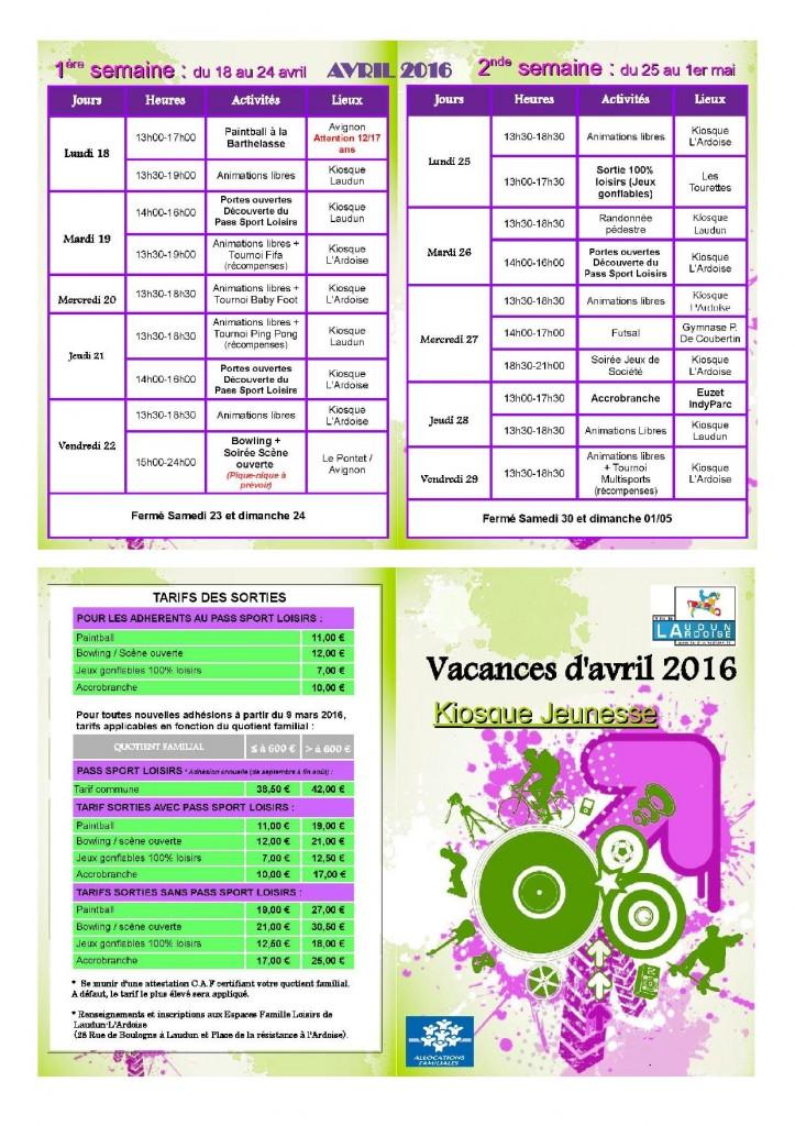 Programme vacances avril