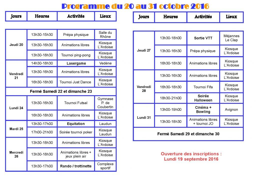 Programme Toussaint KJ