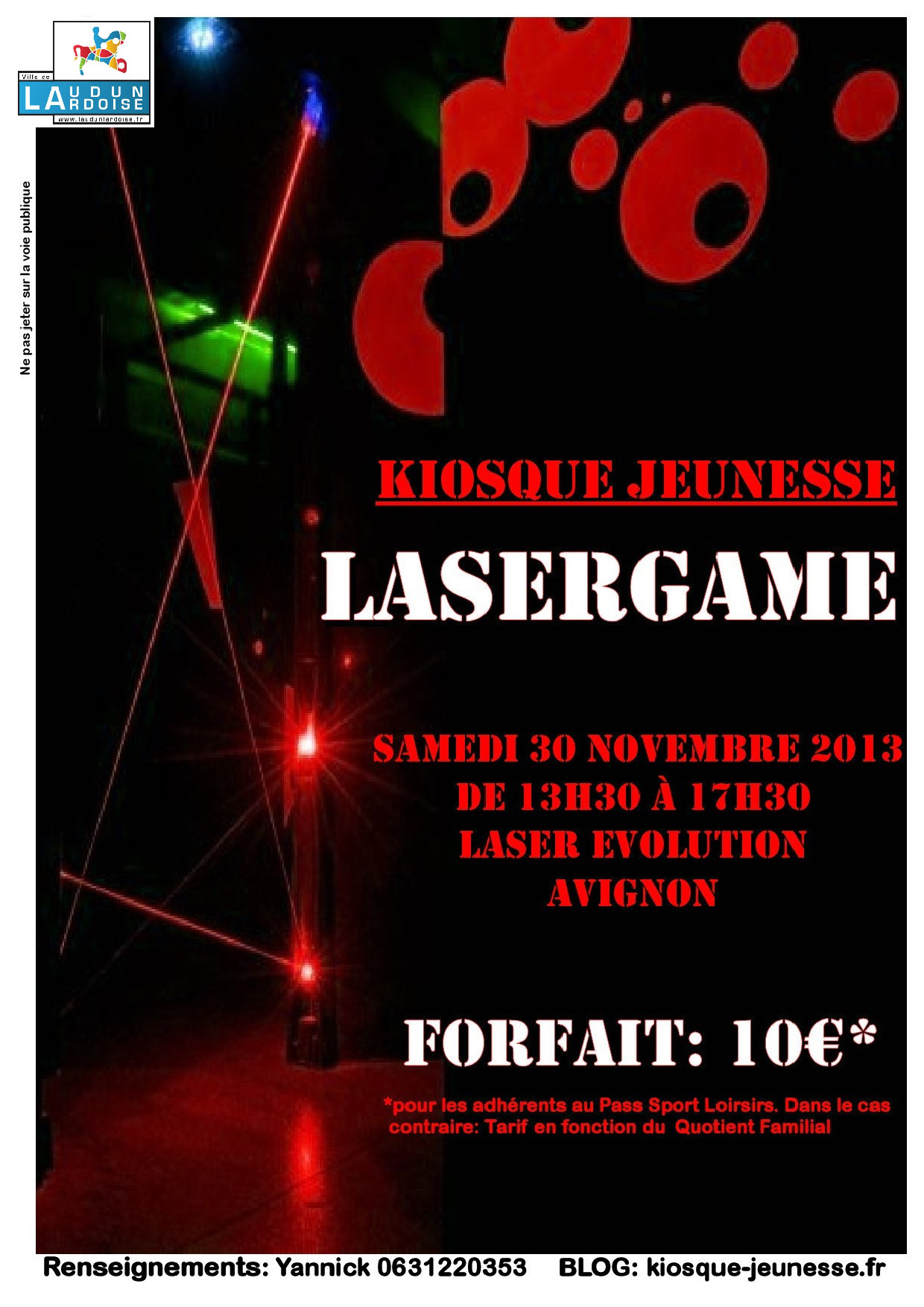 kiosque jeunesse sortie lasergame le samedi 30 novembre. Black Bedroom Furniture Sets. Home Design Ideas
